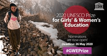 2020 UNESCO Prize for Girls' and Women's Education – Deadline: 26 May 2020