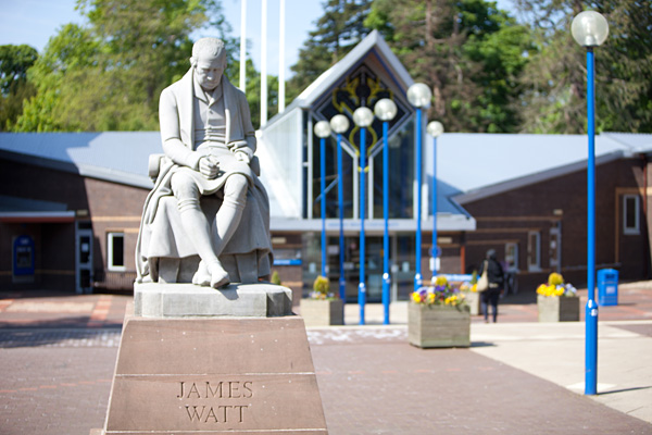 Statue of James Watt at Heriot-Watt University