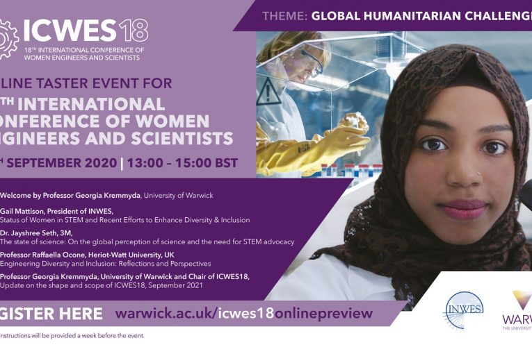 """Taster event """"ICWES18"""", Monday 14th September from 13:00 – 15:00 BST."""